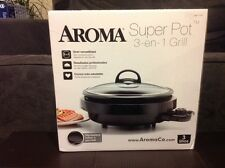 The Aroma Super Pot 3-in-1 Indoor Grill~New~3 Quarts~