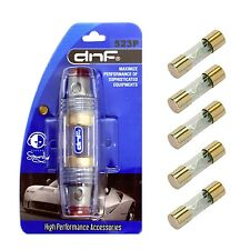 DNF MARINE IN LINE 4 8 10 GAUGE AGU FUSE HOLDER + 5 PCS 80 AMP GOLD AGU FUSES