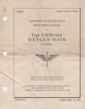 1943 AAF P-38,P-47,P-51 TYPE A-10 OXYGEN MASK FIGHTER PILOT MANUAL HANDBOOK-CD