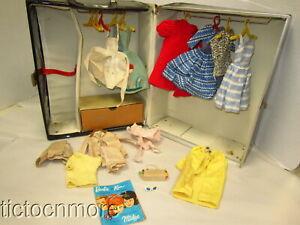 VINTAGE BARBIE KEN DOLL CLOTHES DRESSES LOT + PONYTAIL 1961 DOUBLE TRUNK CASE
