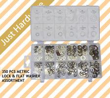 350 Pc PCS METRIC Flat & Lock Spring Washer Assortment Professional SET NEW!