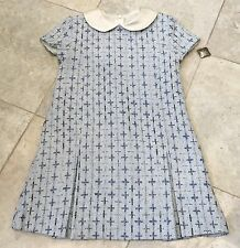 5 Yrs RRP £128 SAMPLE SALE Navy & Pale Blue Pleat Dress by Amberley London