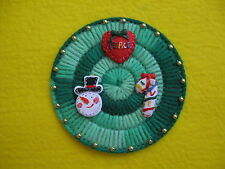 Green Round Christmas Magnet Red Peace Heart Snowman Candy Cane Plastic Canvas