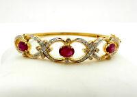 Stunning 14K Gold Diamond Victorian style Bangle Bracelet with  Rubies 3.0 tcw