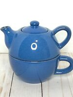 Dusty Blue Tea For One - Teapot and Cup by Pier One Musset EUC!