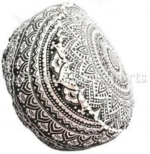 Large Ottoman Pouf Cover Round Mandala Footstool Case Cotton Hippie Pouffe Case