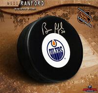 BILL RANFORD Signed Edmonton Oilers Vintage Logo Puck