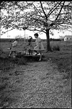 Petites filles pompe à eau seau cerisier fleurs - Ancien négatif photo an. 1950