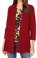 Kasper Womens Sweater Classic Red Size Large L Open Front Cardigan $119- 756