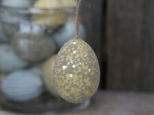 Chic Antique Osterei Ei melone mit Perlen gelb Osterdeko Ostern Shabby Vintage