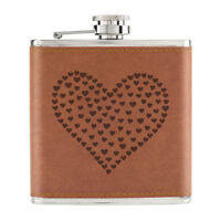 Heart Of Hearts 6oz PU Leather Hip Flask Tan - Love Valentines Day Girlfriend