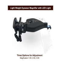 Eyewear Magnifier for Watch Repairing Eye Clip Loupe with LED Head Lamp
