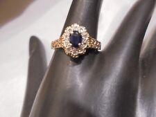 9 CT. EDWARDIAN  ANTIQUE DIAMOND / SAPPHIRE HALO  RING  Sz 9  HALLMARKED