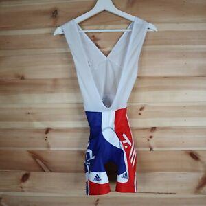 Adidas Sky Padded Bib Shorts Mens Team GB British Road Cycling Red Blue  XS
