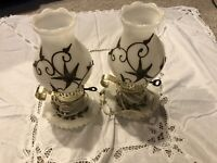 Vintage Plymouth Harkee Milk Glass With Brass Overlay Lamps Set Of Two