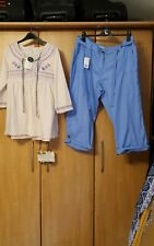 L@@K NWT SIZE 20 SUMMER TURN UP TROUSERS & XL HIPPIE PEASANT STYLE TUNIC TOP DUO