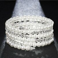 Women Pearl Crystal Rhinestone Stretch Bracelet Bangle Wristband Wedding Bridal