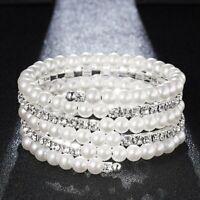 Women Pearl Crystal Rhinestone Stretch Bracelet Bangle Wristband Wedding Bridal