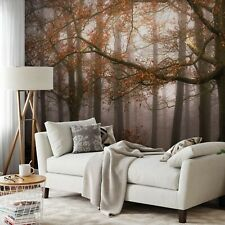 Bedroom Wall mural photo wallpaper 151x102inch PREMIUM Foggy Autumn Forest