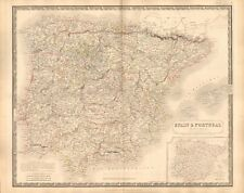 1844 LARGE ANTIQUE MAP- JOHNSTON - SPAIN AND PORTUGAL, INSET OF NEW DIVISIONS