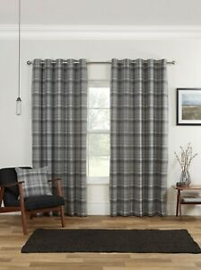Carnoustie Ready Made Curtains Woven Check Blackout Lined Eyelet Heading