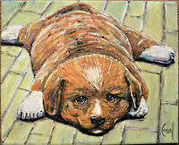PEPPER THE LOST PUP dog new painting 8x10 canvas original signed art Crowell $
