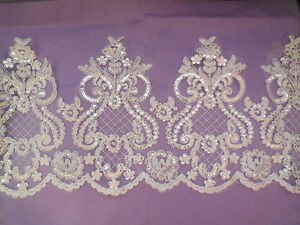 ivory Embroidered sequined lace trim Bridal Wedding lace tulle trim Per Yard90cm