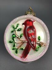 "Red Cardinal Christmas Tree Ornament Winter Glitter Glass Bird Large 3"" Gift 3D"