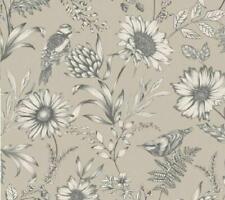 Arthouse Songbird Beige Grey Natural Floral Bloom Flowers Birds Wallpaper 676000