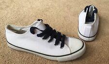 Atmosphere White & Navy Blue Canvas Pumps Shoes Uk Size 5 EU 38 New