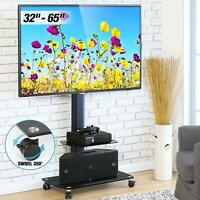 Floor Swivel TV Stand Adjustable Height With Mount Rolling Cart Up To 65 inches