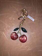 NWT Coach Metal Glitter Resin Cherry Bag Charm Keychain Pink Apple Gold NEW