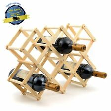 Wooden Wine Rack 10 Bottle Bar Kitchen Storage Liquor Holder Home Decor Wood NEW
