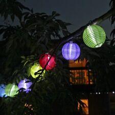 Solar String 10 Mini Colorful Fabric Lanterns,Fairy Outdoor Garden Decor Lights