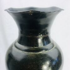 "Retro Vintage Tin Metal Decorative Black Urn Flower Vase 16"" Tall"