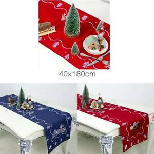 Christmas Santa Claus Tablecloth Embroidered Xmas Table Runner Party Decor ONE