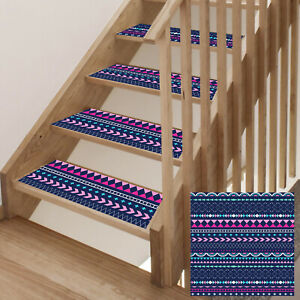"13 Pack Bohemia Stair Treads Carpet Rugs 8"" x 30"" Non-Slip Indoor Stair Cover"