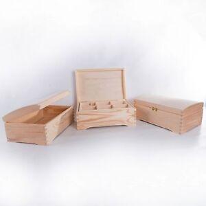 Wooden Chest Storage Box 30x20cm / 5 Subtypes /Unpainted Pinewood Keepsake Trunk