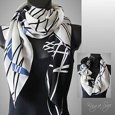 Leichte Schal / Scarf Tuch Loop Halstuch Cloth Vintage Look - weiß schwarz blau