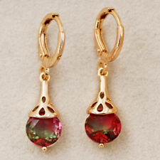 Mystic Round Ruby Gradient 18K Gold Filled Topaz Women Earring Dangle Party Gift
