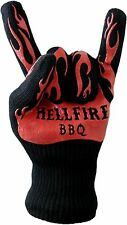 HellFire BBQ and Oven Gloves, Heat Resistant to 932F, Black with Orange Flames
