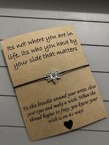 🌸Who You Have In Life Quote Friendship Wish Flower Charm bracelet Gift 🌸