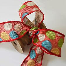 Hessian Faux Burlap/Hessian/Jute Wired Ribbon 38mm Rustic Christmas Bow Making