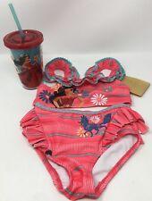 Disney Store Elena Of Avalor 2 Piece Swimsuit Size 3 & Bonus Elena Cup W/ Straw