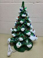 "Vtg 1970s 18"" Atlantic Mold Ceramic Christmas Tree White Tips Color Bird Lights"