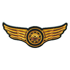 Embroidered Winged Wheel Orange Iron on Sew on Biker Patch Badge