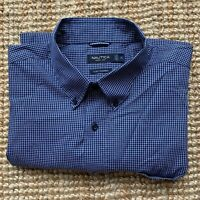 "NAUTICA ""A Bit Trimmer"" Blue Check  Long Sleeve Button-Down Shirt XL"