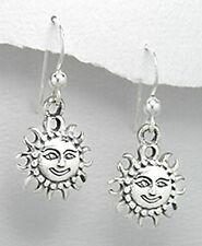 30mm Solid Sterling Silver Happy Sun Dangle Earrings 3.35g PRETTY