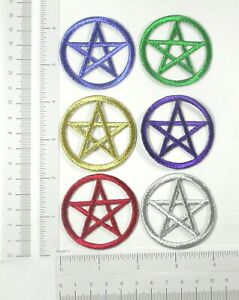 """Pentacle Pentagram Patch Iron On Wiccan Embroidered Applique 2"""" (50mm) *colors*"""