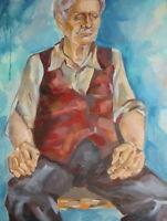 Vintage oil painting old man impressionist portrait